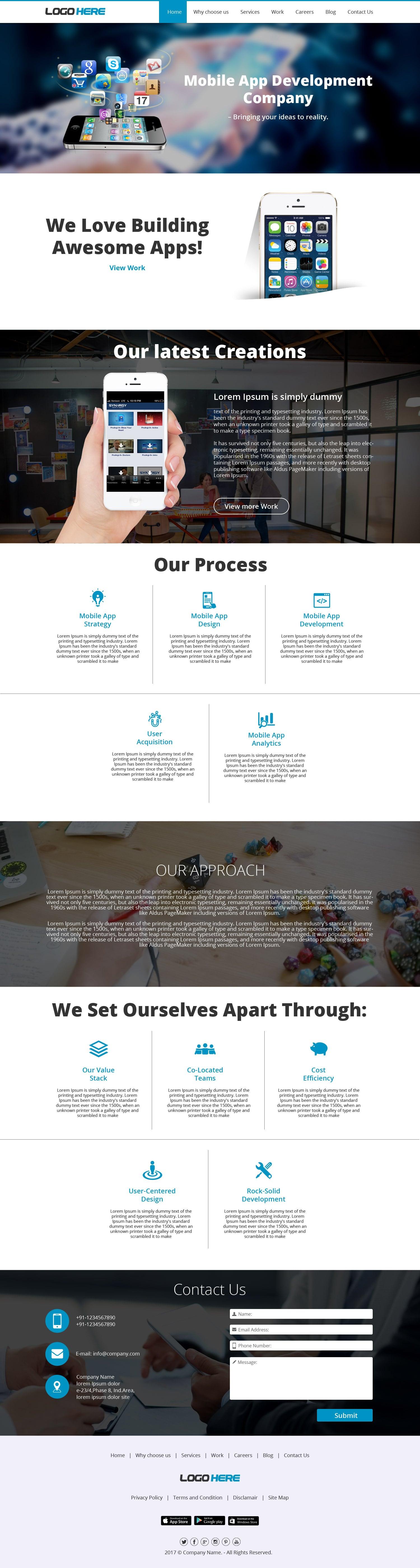Mobile app development company website template