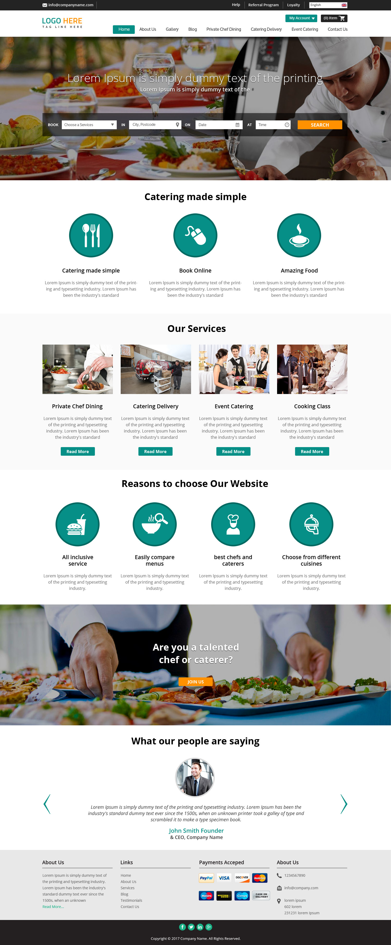 Restaurant website design template free psd