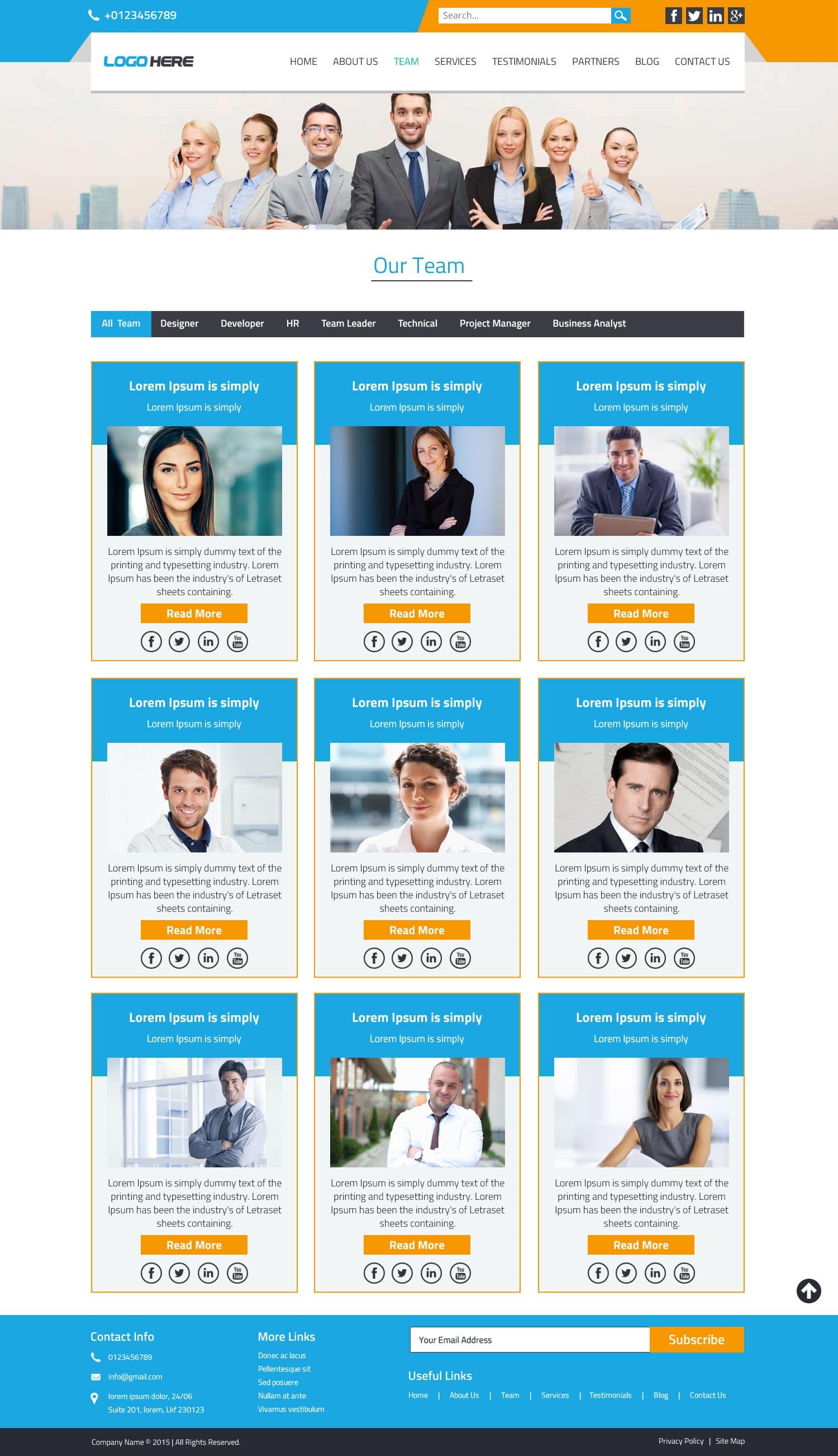 Company team page psd design